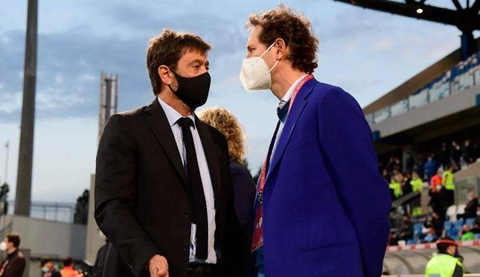 Il presidente della Juventus Agnelli con John Elkann