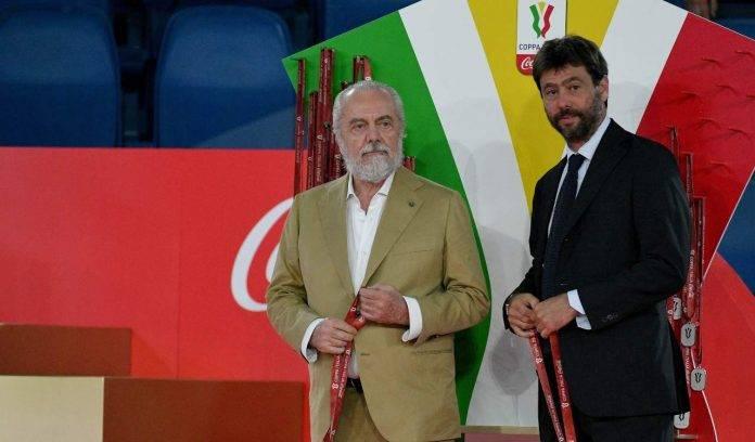 De Laurentiis e Agnelli alla premiazione