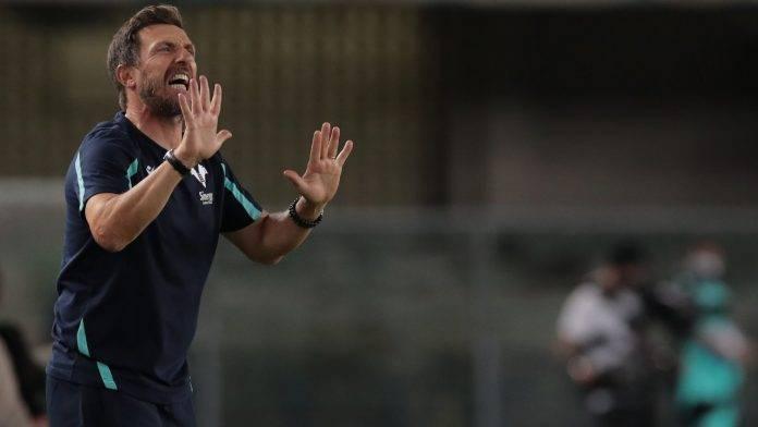 Di Francesco durante la sua ultima panchina con l'Hellas Verona