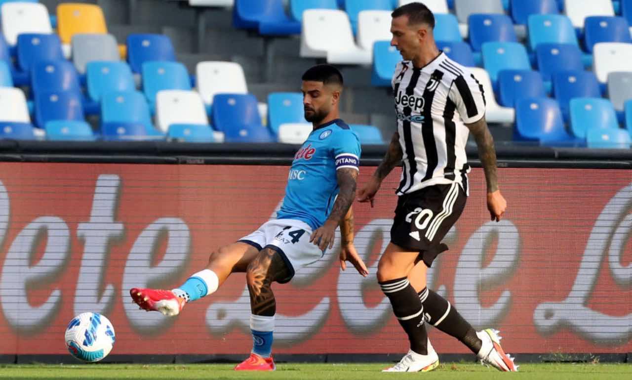Insigne e Bernardeschi durante Napoli-Juventus