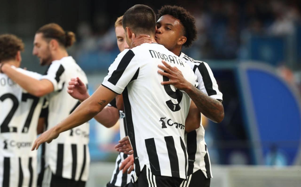 Morata e McKennie esultano con la Juventus