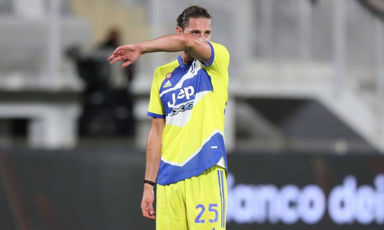 Rabiot in azione durante Spezia-Juventus