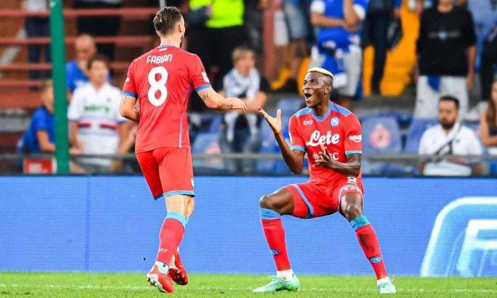 Fabian e Osimhen esultano in Sampdoria-Napoli