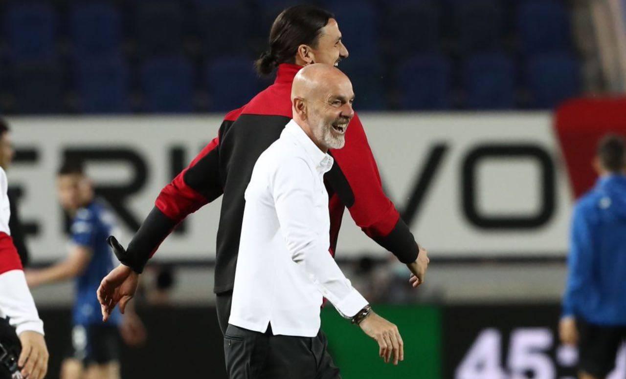 Ibrahimovic e Pioli in Atalanta-Milan
