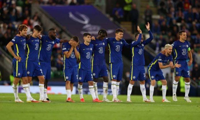 Il Chelsea schierato durante la finale di Supercoppa contro il Villarreal