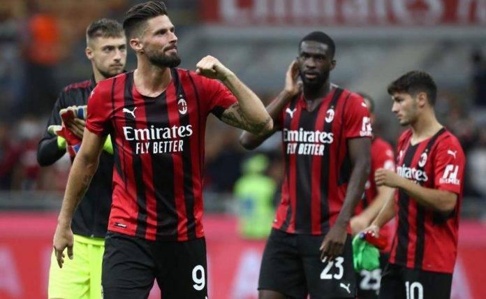 Milan, Giroud esulta contro il Cagliari