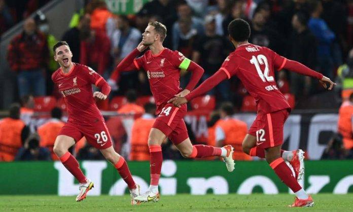 Henderson esulta in Liverpool-Milan