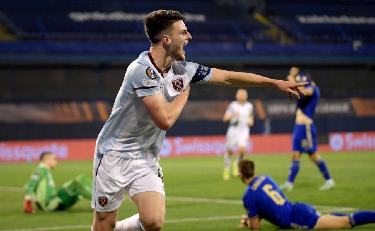 Declan Rice in Dinamo Zagabria-West Ham