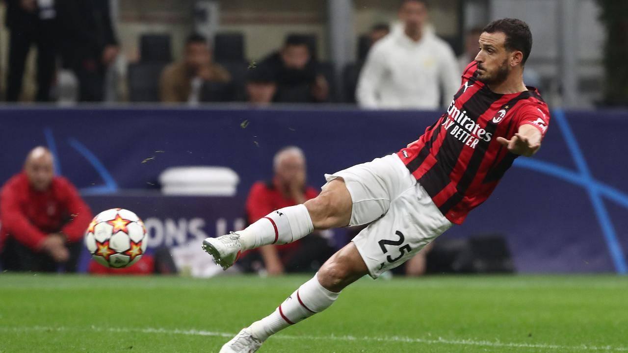Florenzi calcia il pallone Milan