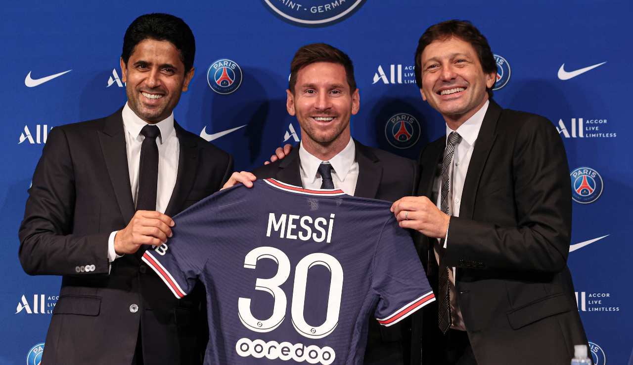 Leonardo con Messi ed Al Khelaifi