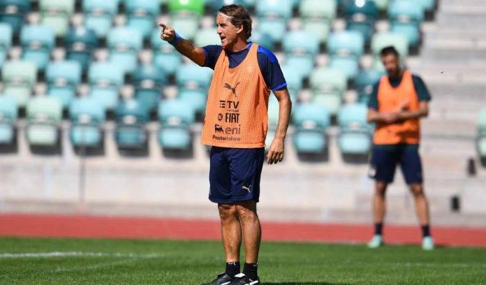 Mancini in allenamento