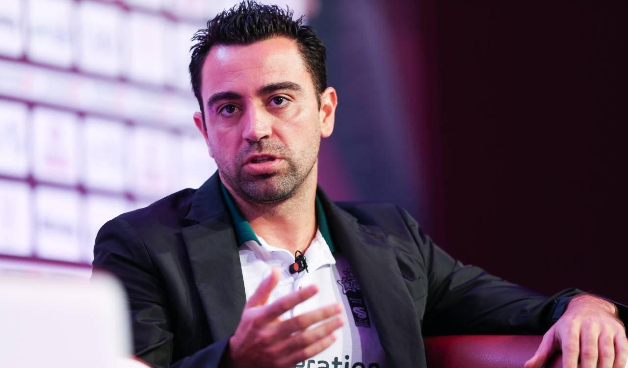 Xavi in conferenza stampa