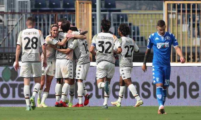 Empoli-Venezia, esultanza al gol di Henry