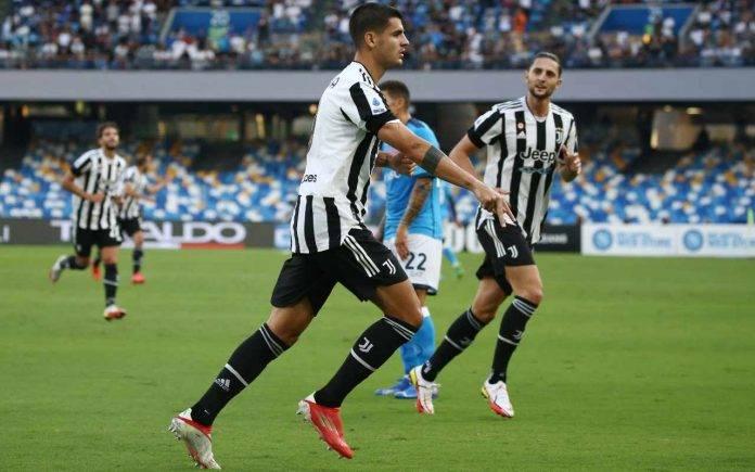 Napoli-Juve, esultanza di Morata