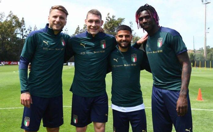 Immobile, Belotti, Insigne e Kean con la divisa da allenamento dell'Italia campione d'Europa