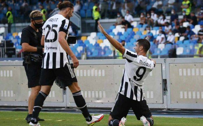 Napoli-Juventus, Morata esulta