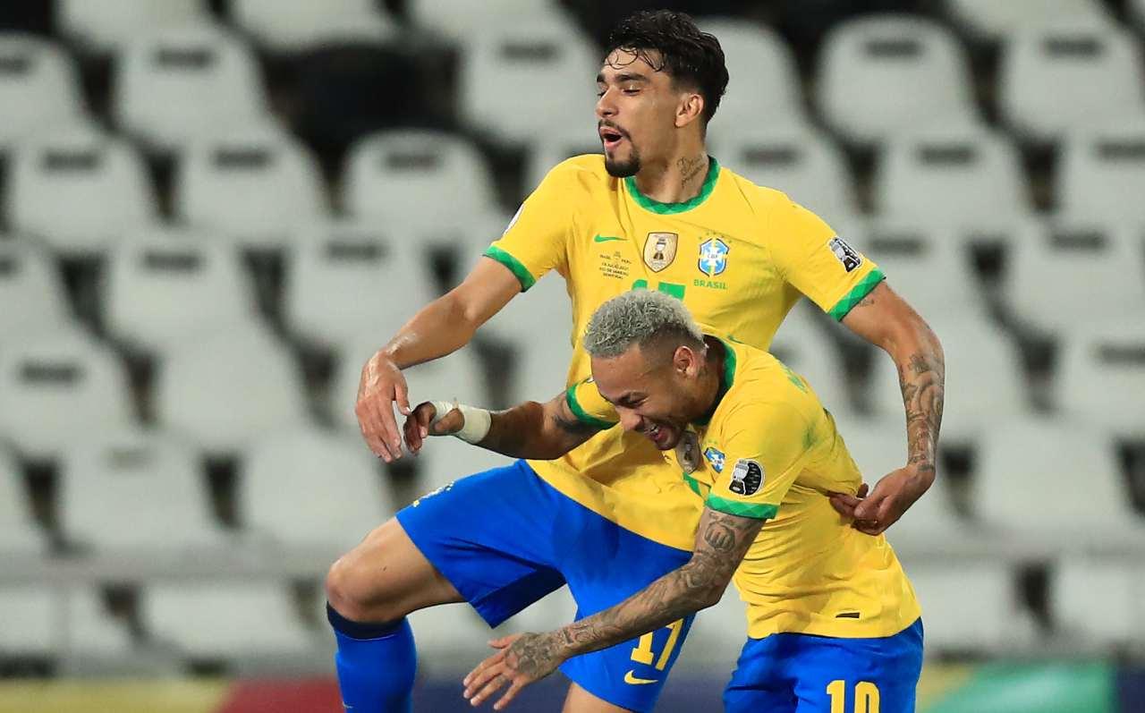 Paquetà e Neymar con la maglia del Brasile
