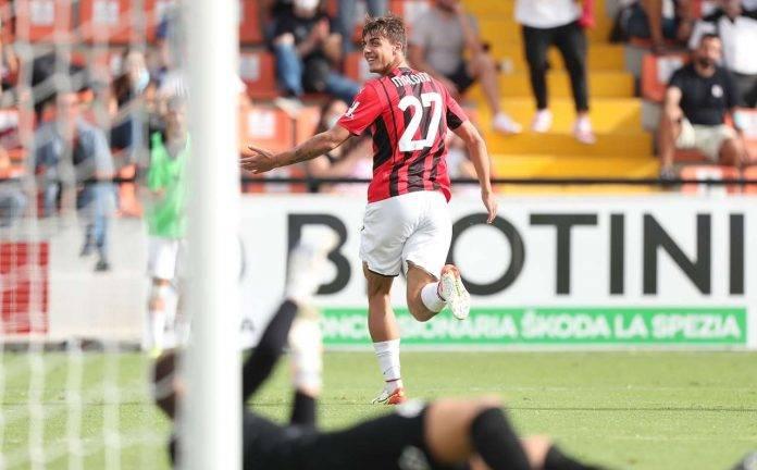 Spezia-Milan, Daniel Maldini esulta
