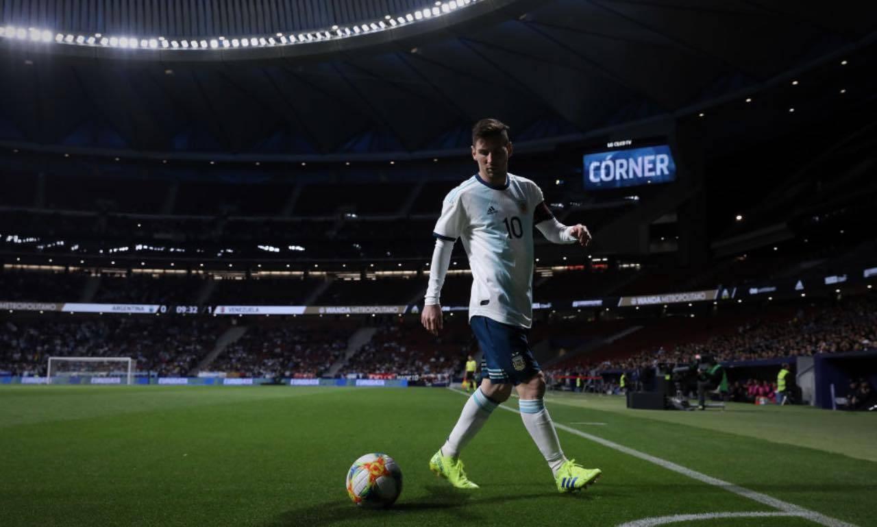 Messi durante Argentina-Venezuela