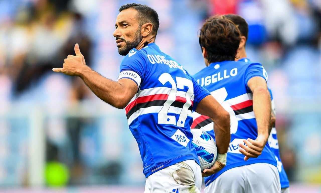 Quagliarella esulta per il gol in Sampdoria-Udinese