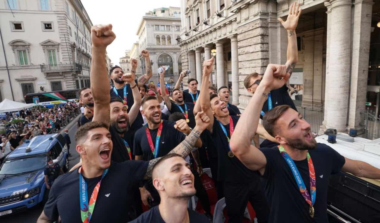 La Nazionale italiana festeggia EURO 2020