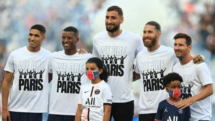 Donnarumma Sergio Ramos Hakimi sorridono PSG