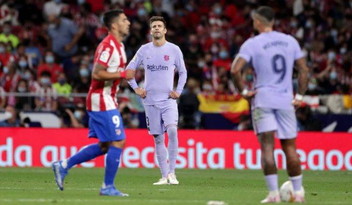 Pique deluso durante Atletico Madrid-Barcellona