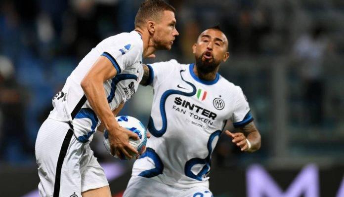Dzeko dopo il gol in Sassuolo-Inter