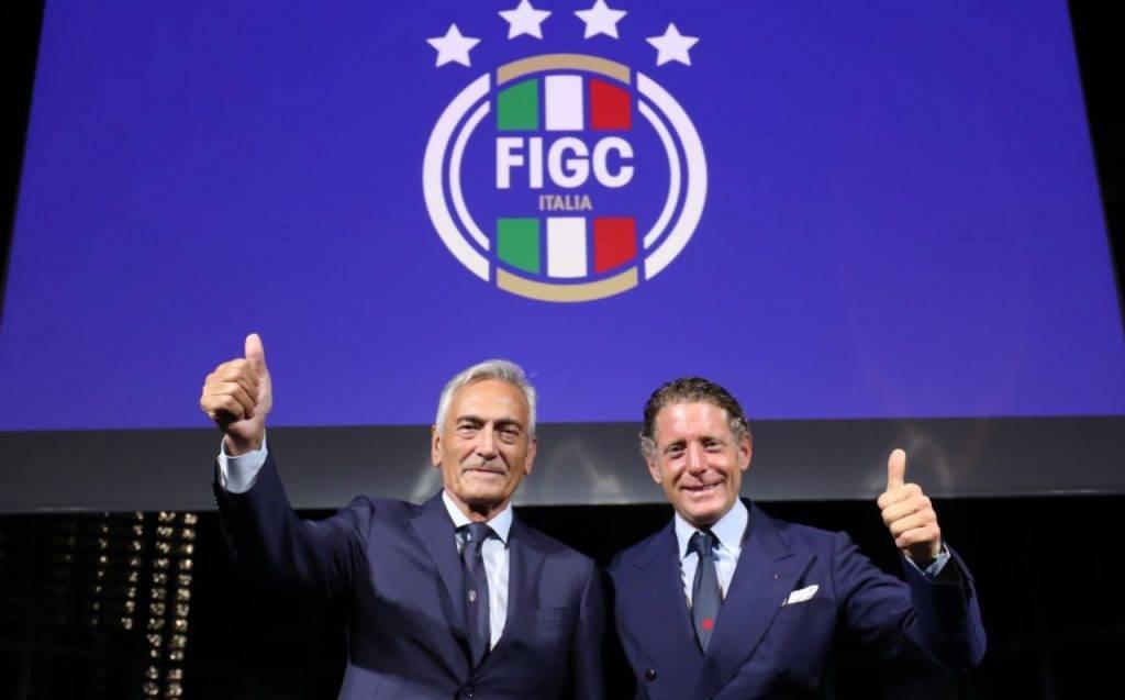 Gravina e Lapo durante la presentazione del logo della FIGC