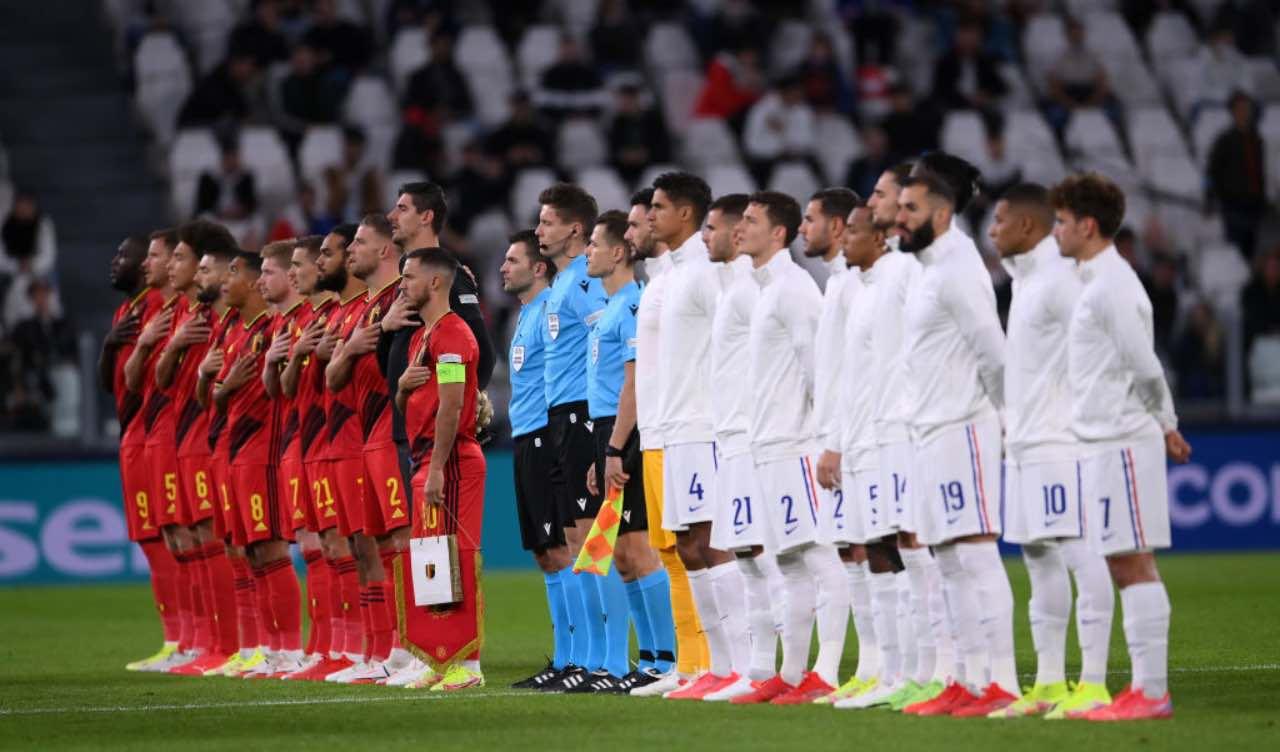 Belgio-Francia, giocatori schierati in campo