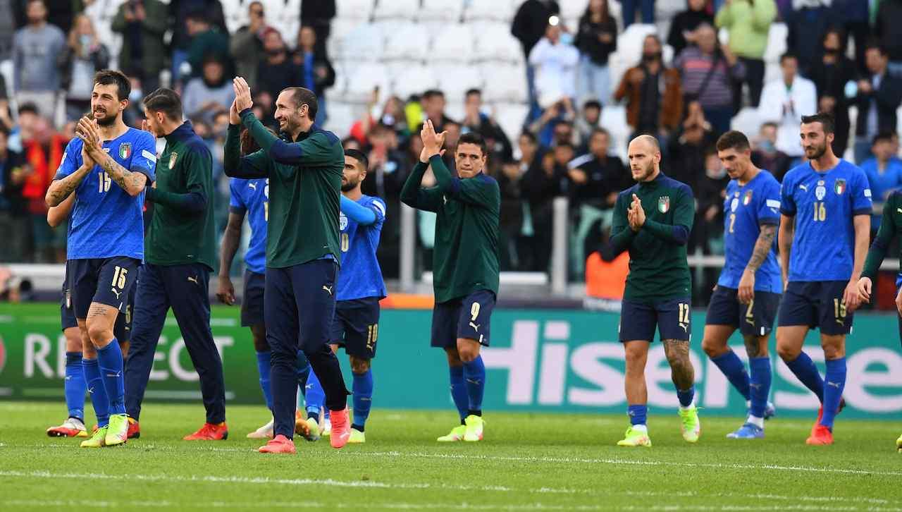 L'Italia festeggia la vittoria contro il Belgio