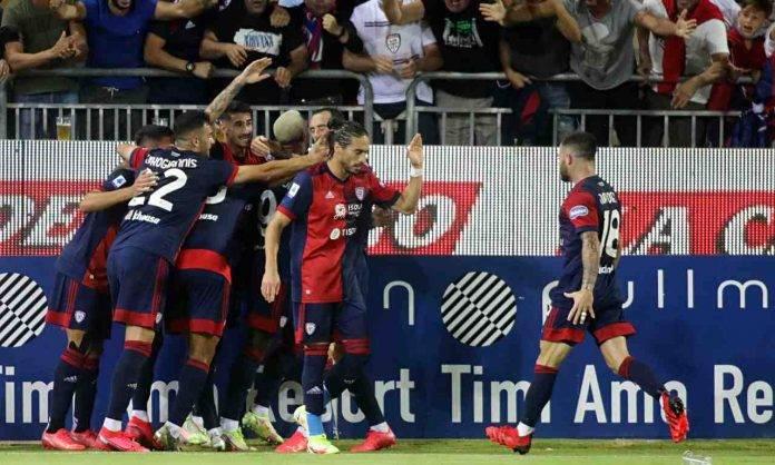 Cagliari-Venezia, esultanza al gol di Keità